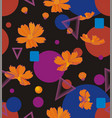 orange cosmos flowers with geometric shapes of vector image vector image