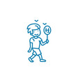 playing badminton linear icon concept playing vector image vector image