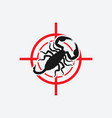 scorpion icon red target insect pest control sign vector image