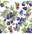 Seamless watercolor pattern with leafs and berries vector image vector image