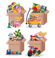 set many toys in cardboard boxes on white vector image vector image