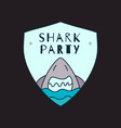 shark party sticker badge design cute shark with vector image
