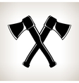 Silhouette of Two Crossed Axes vector image vector image