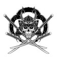 skull samurai 0007 vector image