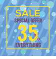Special Offer 35 Percent On Colorful Blue Bubbles vector image vector image