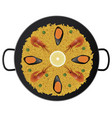 typical spanish paella with prawns and mussels vector image vector image