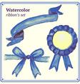 Watercolor blue ribbons set vector image vector image
