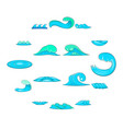 waves icons set cartoon style vector image