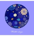 Winter circle design with golden and blue vector image vector image