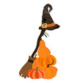 witch costume broom with hat vector image vector image