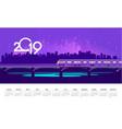 2019 neon train calendar vector image vector image