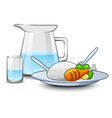 a kettle of water with rice and chicken meat in fr vector image