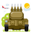 anti-aircraft missile system flat style vector image