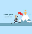 arab businessman jumping with flag over iceberg vector image vector image