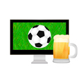 ball into the TV screen and mug of beer vector image vector image