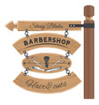 barbershop salon wooden signboard with vector image vector image