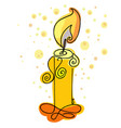 burning candle hand drawn candlelight vector image