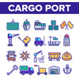 cargo port thin line icons collection vector image