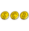 cartoon bitcoin dollar and euro coins set vector image vector image