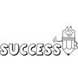 cartoon success pencil school vector image vector image