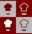 chef hat and moustache sign bordo and vector image vector image