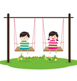 Children on Swing vector image vector image