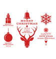 christmas collection isolated labels vector image