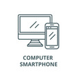 computer and smartphone line icon vector image vector image