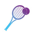 contour racket and ball to play tennis sport vector image vector image