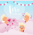cupid clouds background valentine day baby amur vector image vector image