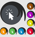 Cursor icon sign Symbols on eight colored buttons vector image