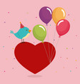 cute and little bird with heart and balloons vector image