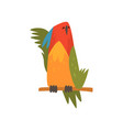 cute bird napping on while sitting on perch funny vector image