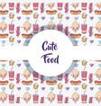cute food pattern background kawaii cartoons vector image vector image