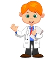 Cute little male doctor cartoon waving hand vector image vector image