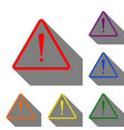 exclamation danger sign flat style set of red vector image