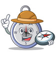 explorer compass character cartoon style vector image