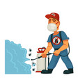 exterminator in mask sprays chemical substanse vector image vector image