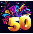 Fireworks Happy Birthday with a gold number 50 vector image vector image