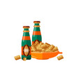 flat beer glass bottles crispy rusks pot vector image