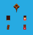 flat icon cacao set of delicious chocolate vector image vector image