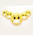 flu epidemic concept group emoji with mask vector image
