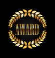 golden award laurel wreath isolated on dark vector image
