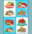 grandiose christmas discount advertisement banners vector image
