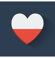 Heart-shaped icon with flag of Poland vector image