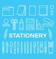 line style stationery icons collection vector image vector image