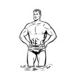 man swimmer in swimming trunks black and white vector image
