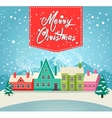 Marry Christmas greeting card with village vector image