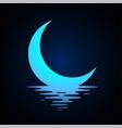 moon logo design crescent above water half vector image vector image