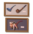 Museum exhibit of Smoking pipes in Injun style vector image vector image